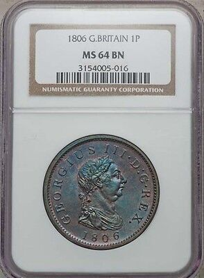 Great Britain George Iii 1806 1 Penny Choice Uncirculated Certified Ngc Ms64-Bn