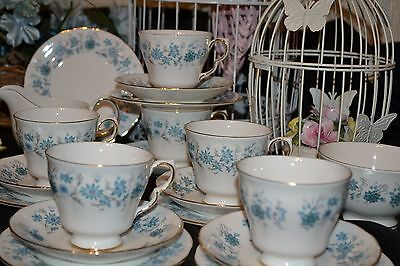 Adams Baltic Vintage Set Of 4 Soup Coupes / Bowls & Saucers - Hand Painted