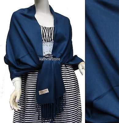 NEW Solid 100%Pashmina Wrap Stole Cashmere Shawl/Scarf Soft Navy Blue #P202