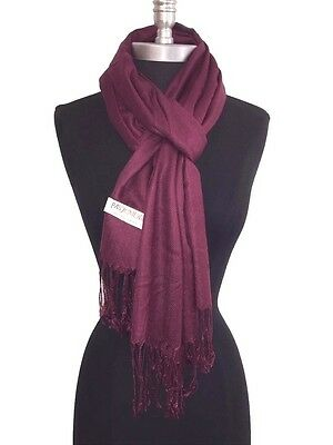 NEW Solid 100%Pashmina Wrap Stole Cashmere Wool Shawl/Scarf Wine