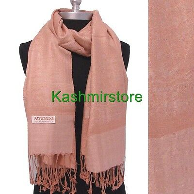 New Pashmina Paisley Floral Silk Wool Scarf Wrap Shawl Soft Classic Beige #sm071