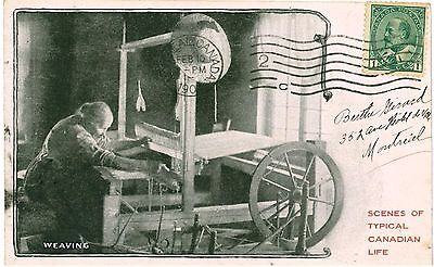 CANADA WEAVING Typical Canadian Life Vintage PC 1904