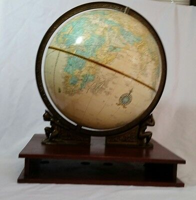 "Vintage Cram's Imperal 12"" World Globe 2 Atlas Figures"