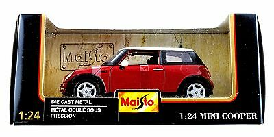 Maisto Special Edition 1:24 Scale Mini Cooper Red White Die Cast Car NEW