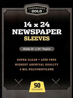 Pack of 50 CBG 14 x 24 Newspaper Acid Free 2-Mil Clear Poly Sleeves 14x24