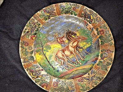Antique  Vintage Sgraffito Art Pottery Plate Signed Hand Made Italy