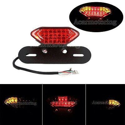 LED Motorcycle/ Chopper All In One Tail Turn Signal Brake Light Rego Plate Unit