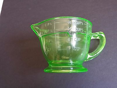 Vintage green glass, 2 cup , measuring cup ,