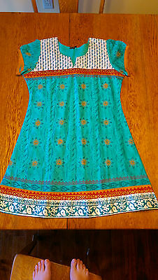 Long Silk and Cotton Blend Indian Tunic Size 36/XL