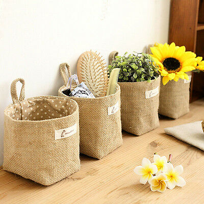New storage box jute with cotton lining sundries basket storage bag hanging bags