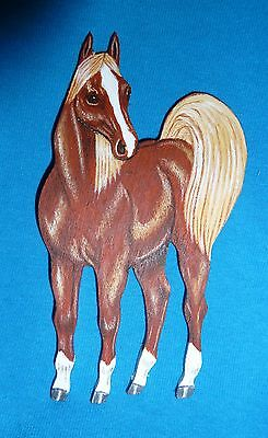 "Arabian Horse Handcrafted of Wood, Size 3"" wide x 5-1/2"" High"