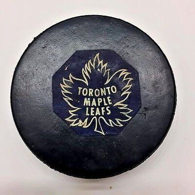 1969-73 NHL Toronto Maple Leafs Converse Rubber Crested Screened Back Game Puck