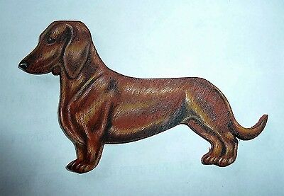 """Dachshund, Smoothhaired, Handpainted Wood Magnet Size 4-1/2"""" x 3"""""""
