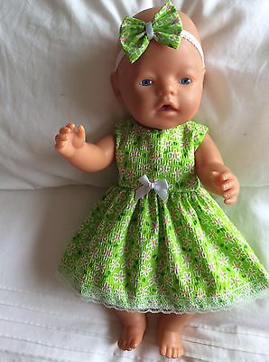 """Doll Clothes to fit 17"""" Baby Born doll ~ Dress & headband ~ Lime. Small Flowers"""