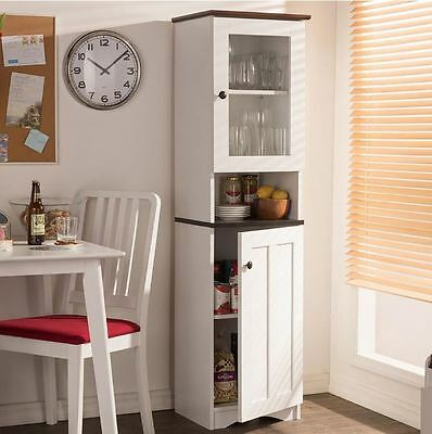 KITCHEN HUTCH SMALL Storage Cabinet Tall White Pantry Food ...