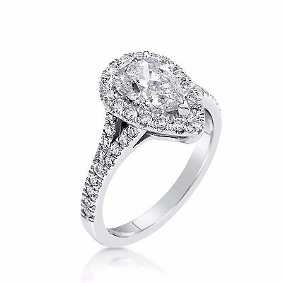 2.81 Ct Pear Shape Cut Si1 Diamond Solitaire Engagement Ring 18K White Gold