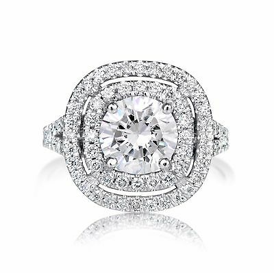 2.33 Ct Round Cut Si1 Diamond Solitaire Engagement Ring 14K White Gold