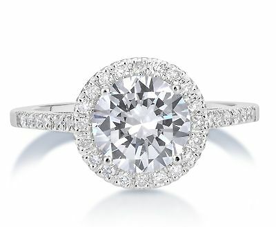 2.32 Ct Round Cut F/vs2 Diamond Solitaire Engagement Ring 14K White Gold