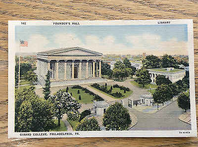 Girard College Philadelphia PA Founders Hall Library Vintage Postcard Color