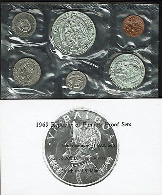 Panama 6-Coin Proof Set 1969 Gem In Envelope Nearly 1 Ounce Silver (.9213 Asw)