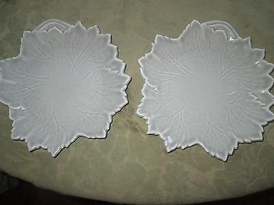 "2 Woodfield Steubenville Figural Leaf 8.75"" Salad / Dessert Plates Dove Gray"
