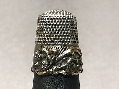 Antique Ketcham and McDougall Sterling Silver & 14K Gold Sewing Thimble Size 9