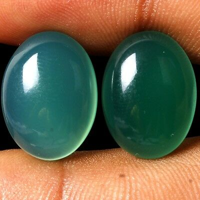 17 Ct. Rare Quality Match Pair Oval Cabochon Natural Green Onyx Gemstones