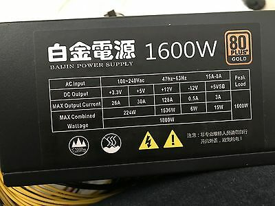 1600W Power Supply PC, ETH, ZCASH Mining Rig 6 - 12 GPU Antminer s9 s9 too !