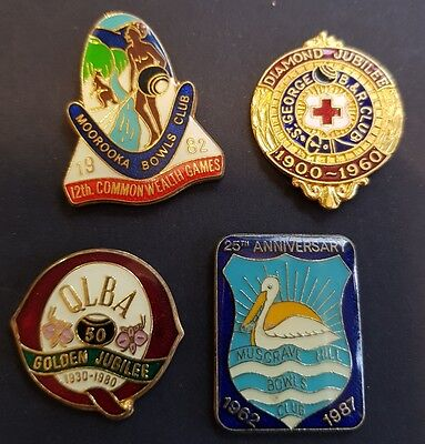 4× Collectable QLD Anniversary Bowls Club Badges  **BACKS REMOVED**