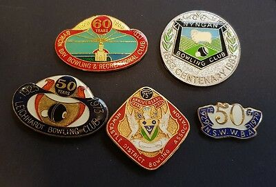 5× Collectable NSW Anniversary Bowls Club Badges **BACKS REMOVED**