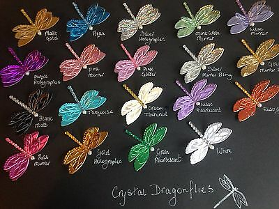 Dragonfly Crystal Die Cut Shapes - Card Making, Toppers, Scrapbooking, Set of 8
