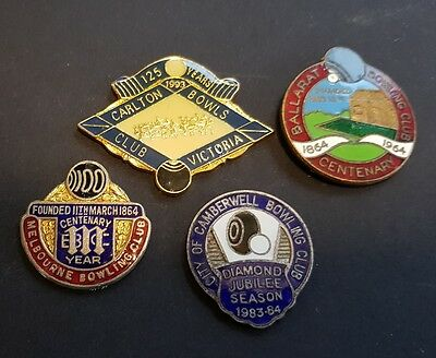 4× Collectable VIC Anniversary Bowls Club Badges  **BACKS REMOVED**