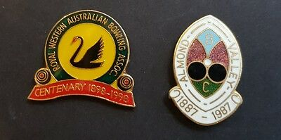 2× Collectable WA Anniversary Bowls Club Badges  **BACKS REMOVED**