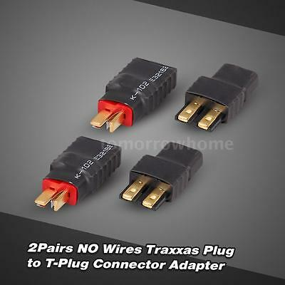 2Pairs NO Wire Traxxas Female to T-Plug Male(Deans) Connector Adapter 2017 O0V5