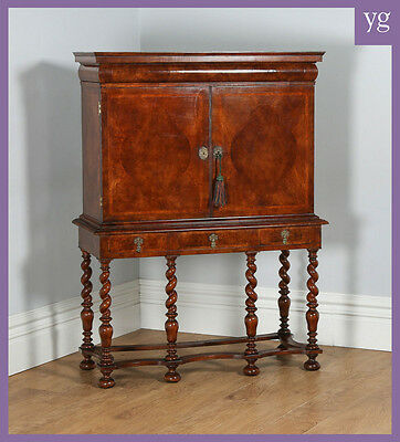 Antique English William & Mary Style Walnut Cocktail Cupboard TV Cabinet Stand