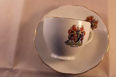 REID & Co ROSLYN CRESTED CHESTER TEA COFFEE CUP & SAUCER 1924'c RARE TOWN CREST