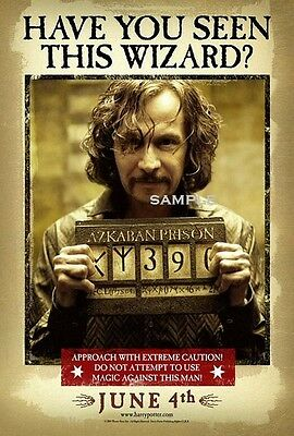 Harry Potter And The Prison Of Azkaban Sirius Black A4 Movie Poster