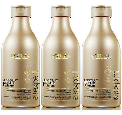 Loreal Absolut Repair Lipidium Shampoo 3x 250ml = 750ml