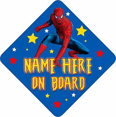 Personalised Spiderman Car Sign Like Baby/Child On Board Bright Blue & yellow