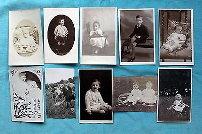 10 Photo Postcards Of Children Babies - Social History Fashions C1920's  30's