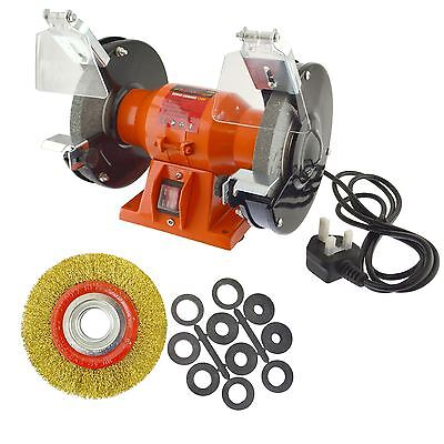 "150mm Electric Workshop Bench Grinder 150w Grinding Polishing And 6"" Wire Wheel"