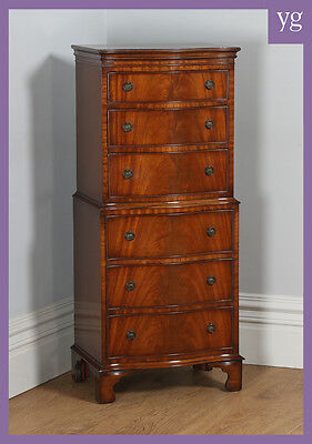 Antique Georgian Style Mahogany Serpentine Tallboy Chest on Chest of Drawers