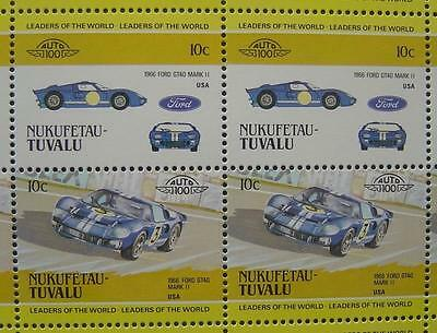 1966 FORD GT40 MARK II  Le Mans Car 50-Stamp Sheet Auto 100 Leaders of the World