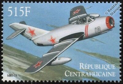 Mikoyan-Gurevich MiG-15 Fighter Aircraft Stamp (2000 Central African Republic)
