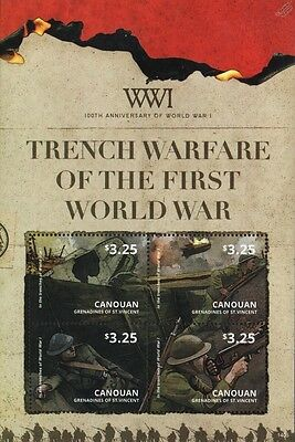 WWI Trench Warfare: British Army Soldiers/Tank/Airship 4v Stamp Sheet (2015)
