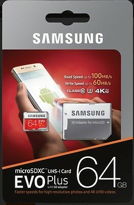 Samsung EVO Plus 64GB Micro SDXC Card mit 100 MB/s +SD-Adapter UHS-I U3
