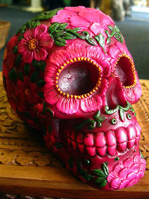 SUGAR BLOSSOM SKULL FIGURE Ornament MEXICAN Day of the Dead GOTHIC Wiccan PAGAN