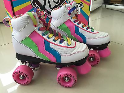 White Leather Rio Roller Boots Size 13
