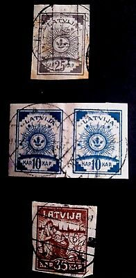 Early Latvian Stamps  - Pelure Paper Imperfs - sold as received - Latvia