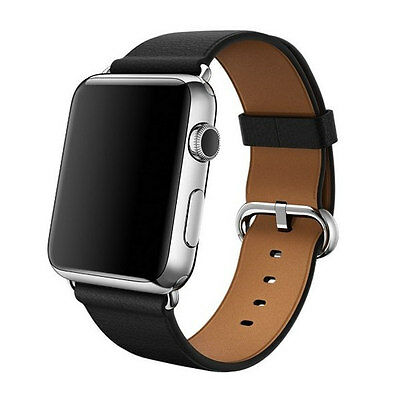 Genuine Apple 42mm Classic Buckle - MLHH2ZM/A - Black Leather Watch Band - VG